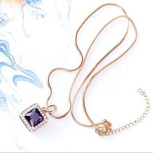 18K Yellow Gold Filled Purple Sapphire Necklace
